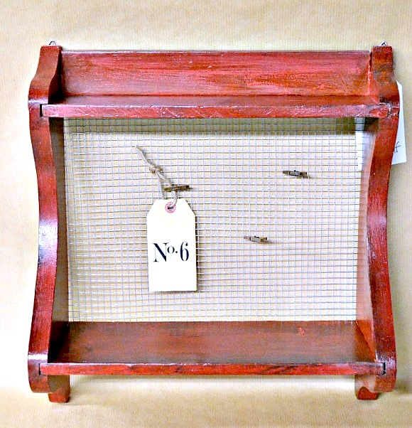 Red Tricycle Shelf with Hardware Cloth