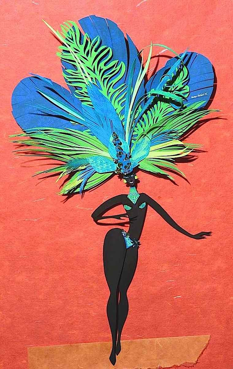 A Carnival parade dancer in papercut art