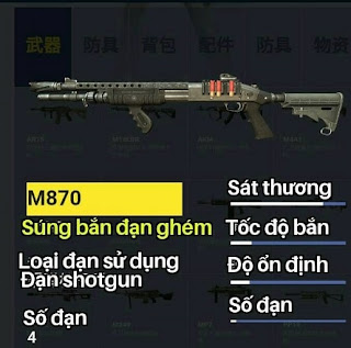 súng m870 trong game rules of survival