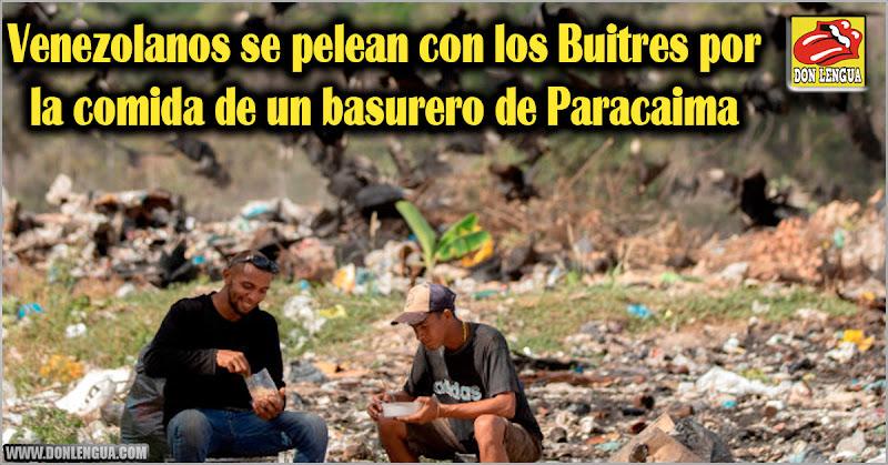 Venezolanos se pelean con los Buitres por la comida de un basurero de Paracaima