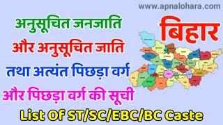 BC1 Caste List in Bihar 2021B, BC2 Caste List in Bihar 2021, List of Scheduled Caste in Bihar
