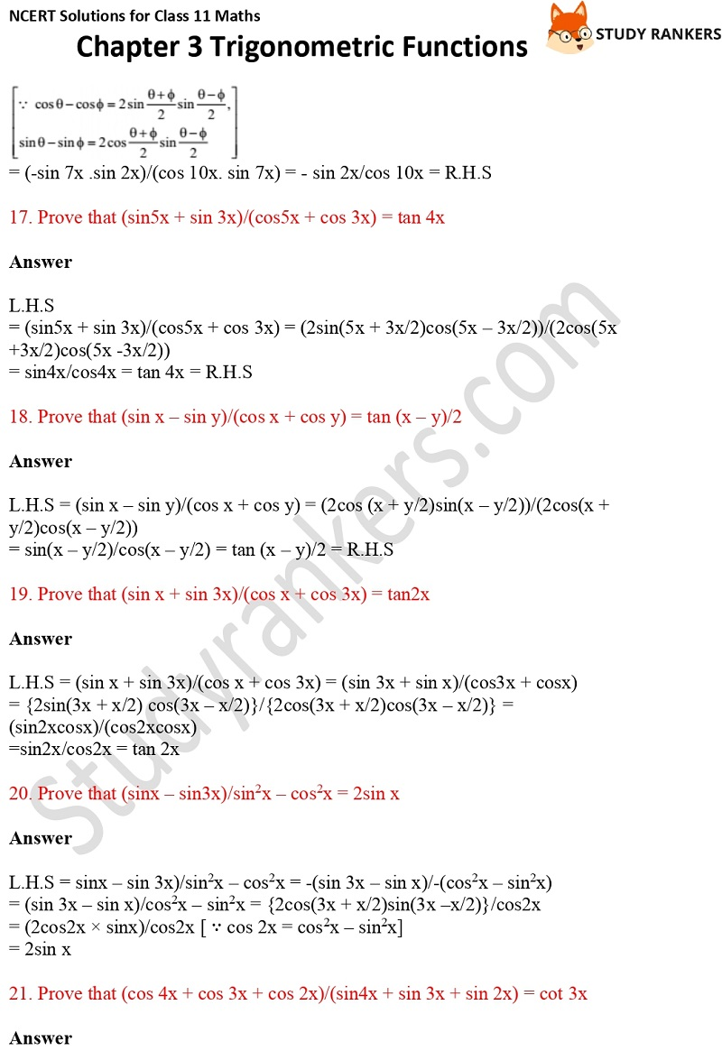 NCERT Solutions for Class 11 Maths Chapter 3 Trigonometric Functions 12