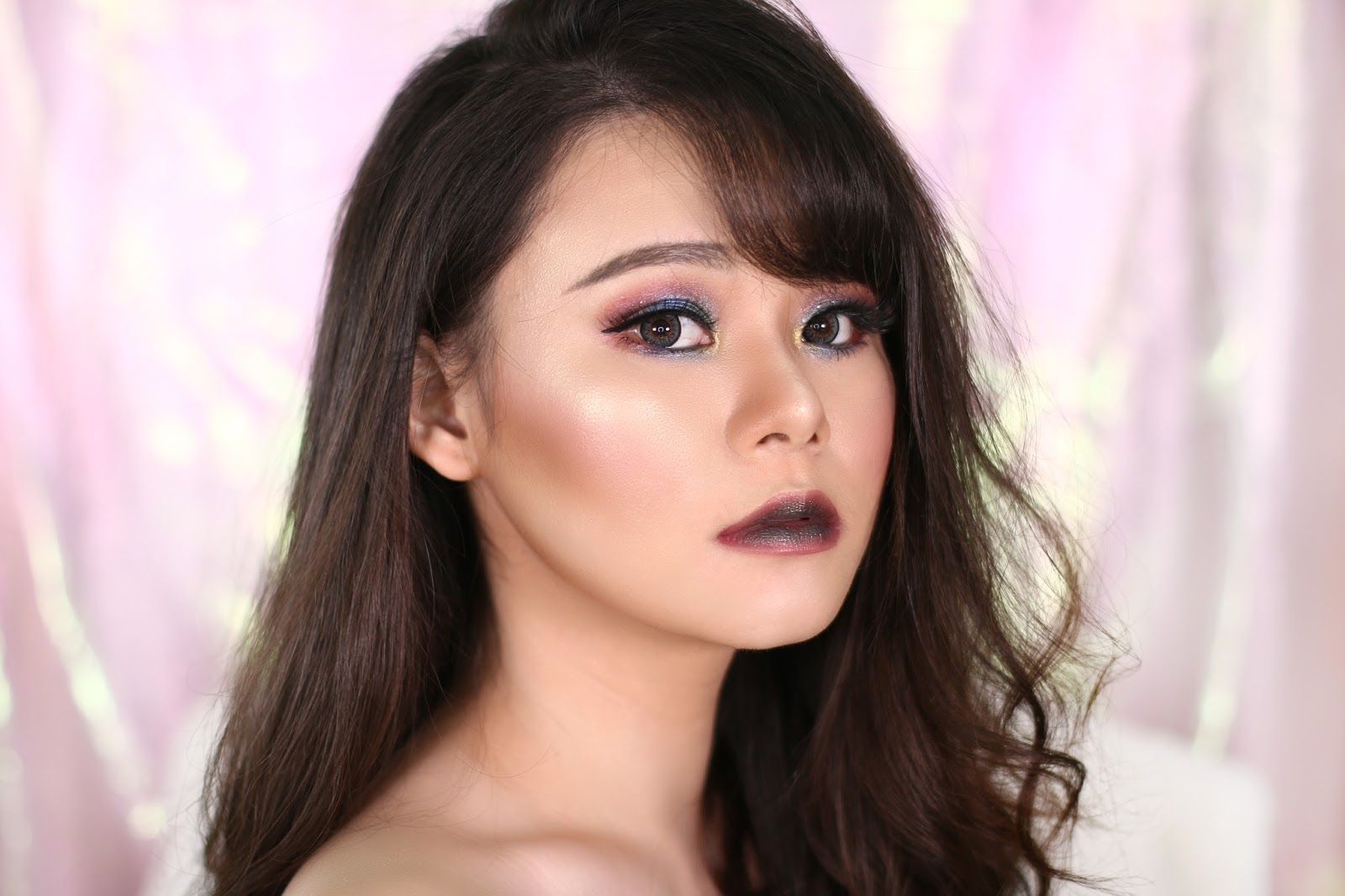 makeup, makeup tutorial, tutorial makeup, glam makeup unicorn makeup, colorful makeup, glam, beauty, jean milka, beauty blogger indonesia, urban decay heavy metals palette