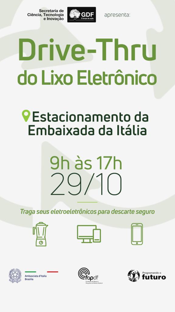 Embaixada: Da Ítalia receberá Drive thru do Lixo Eletrônico