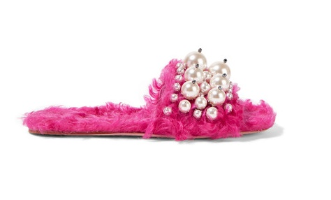 miu miu emellished faux shearling slides in hot pink