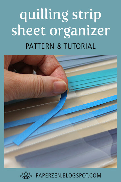 quilling strip sheet organizer - tutorial and free pattern