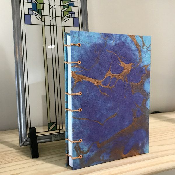 marbled paper journal with hand bound cover