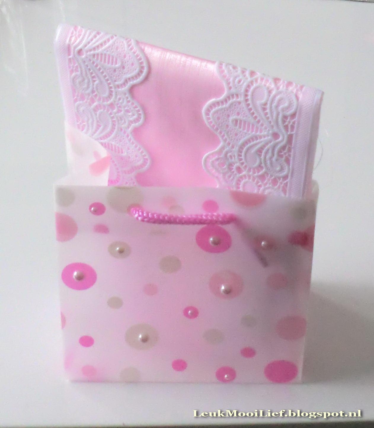 Leuk mooi lief roze cadeautje for Organza zakjes xenos
