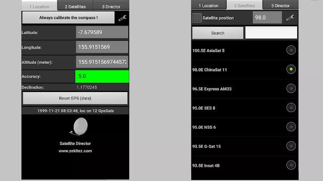 Aplikasi Android Satellite Director untuk Tracking Parabola
