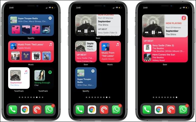 أدوات الموسيقى على ثلاثة أجهزة iPhone.