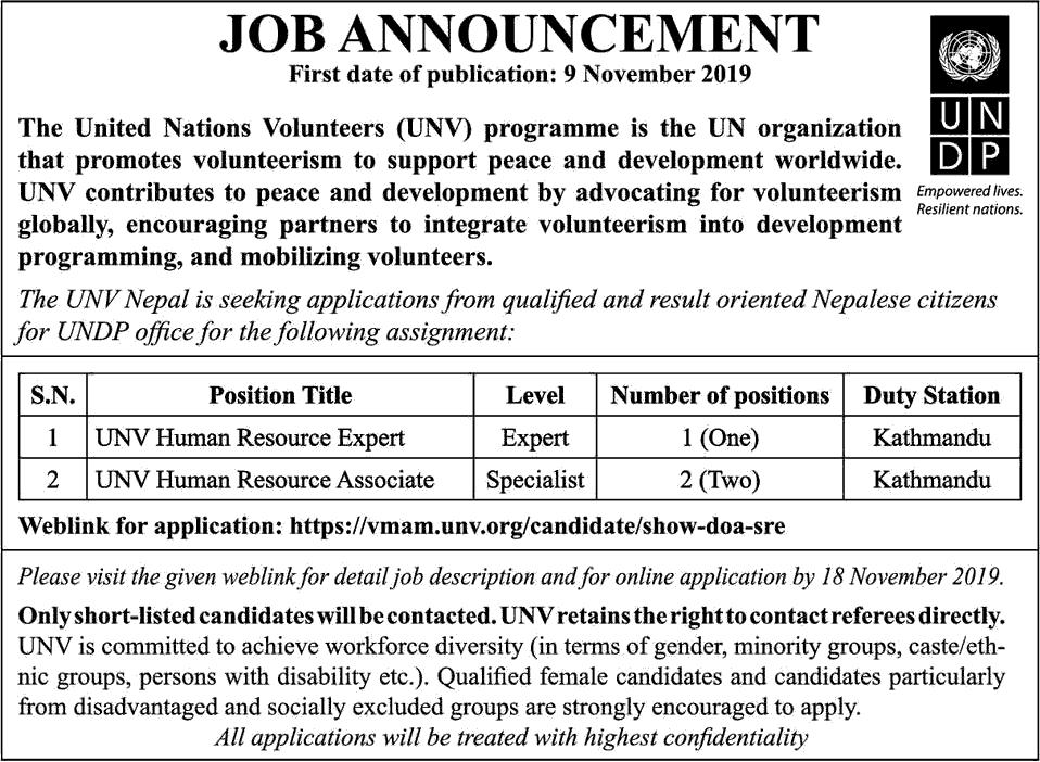 UNV Nepal Job Vacancy