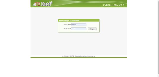 zxhn h108n v2.5 password