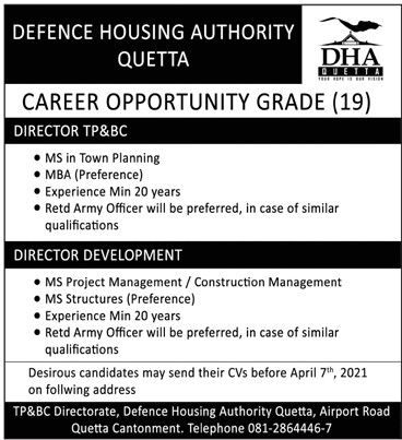 Latest Jobs 2021 in Defense Housing Authority (DHA) Quetta