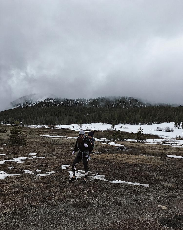snow hike with toddler in backpack