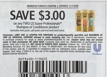 """$3.00/2 Suave Professionals Coupon from """"RetailMeNot"""" insert week of 11/1/20."""