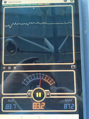 The readout of a decibel meter during the pre-show of Seaworld's orca whale show.  Average decibels, 83.7, max 87.2, or roughly 16 times louder than the previous location.