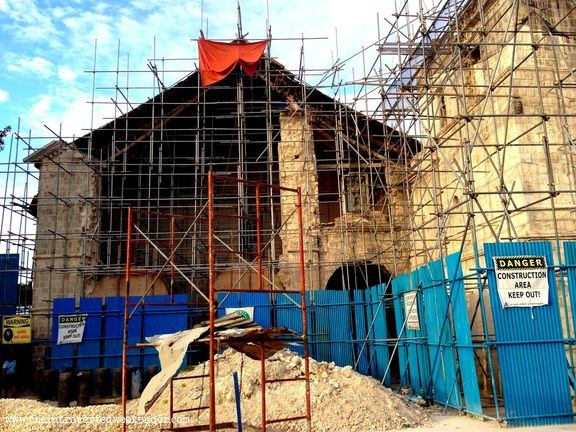 Baclayon Church in Bohol being restored