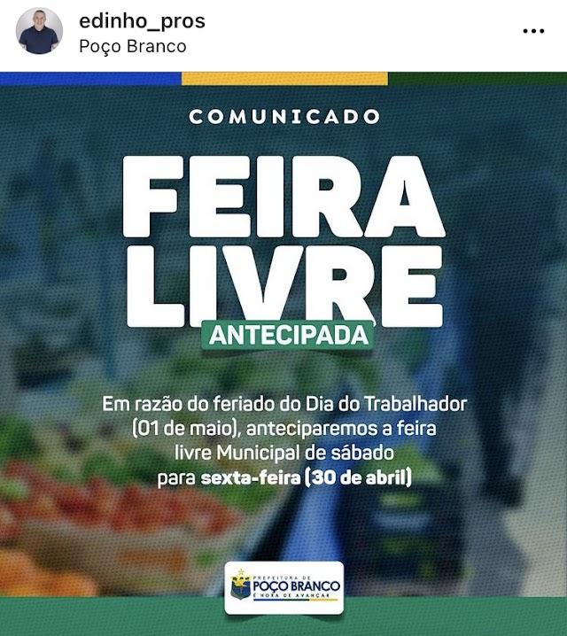 Prefeitura de Poço Branco Antecipa para sexta, 30 a feira livre da cidade