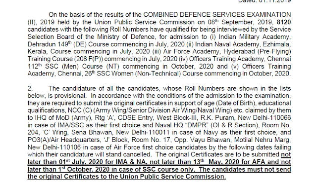 UPSC CDS(II) Exam 2019 Result