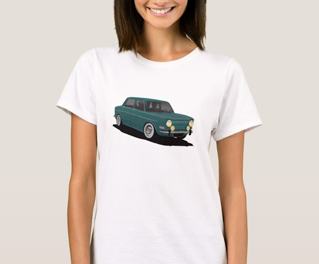 Classic car - Simca 1000 printed on T-shirt