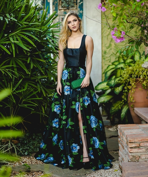 vestido longo estampado