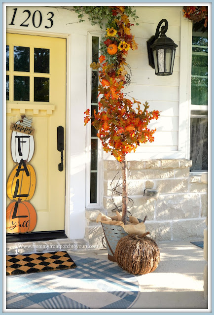 Farmhouse Cottage Style Fall Front Porch-Grapevine Pumpkins-From My Front Porch To Yours