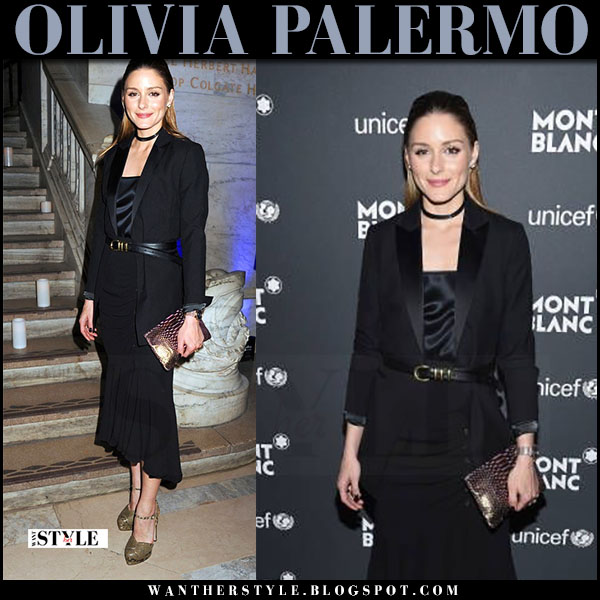 Olivia Palermo in black belted jacket and black asymmetric skirt michael kors what she wore april 2017