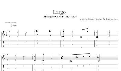 Largo de Corelli Partitura y Tablatura con dedos para Guitarra (Fingering Style Fingerings Tabs)