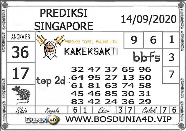 Prediksi Togel SINGAPORE DUNIA4D 14 SEPTEMBER 2020