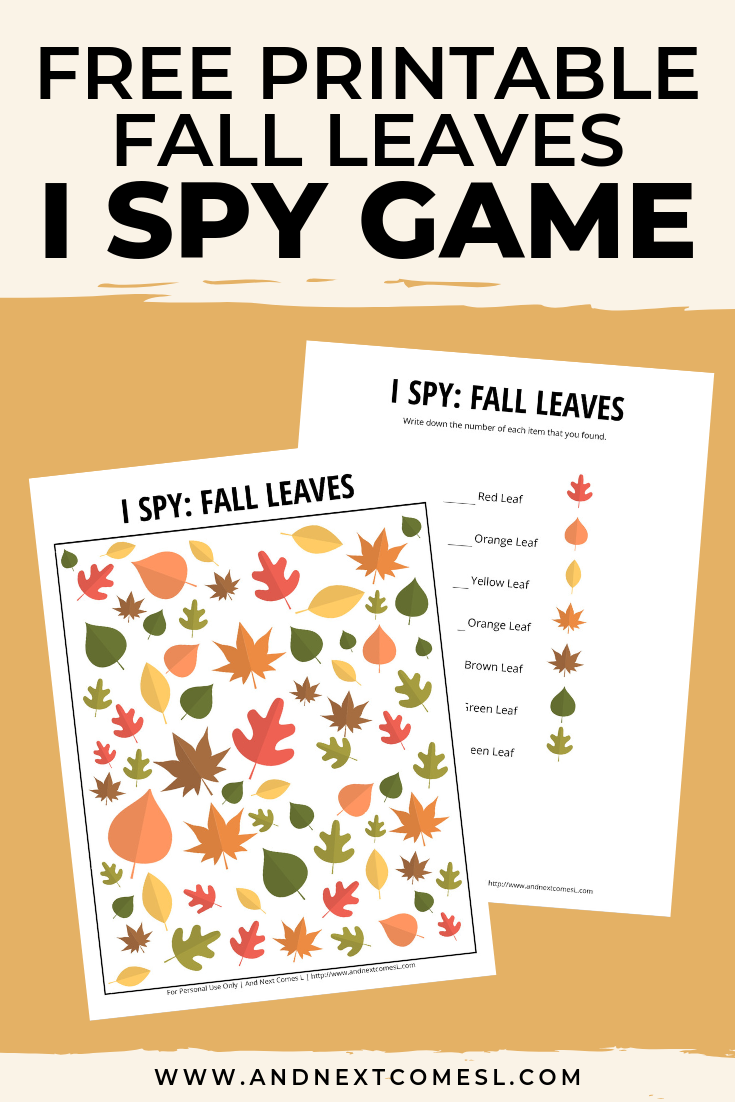Free I spy game printable for kids: fall themed