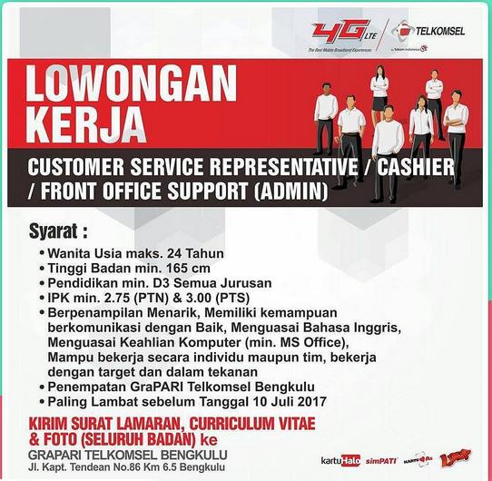 Lowongan Kerja Customer Service, Kasir Admin Grapari Telkomsel