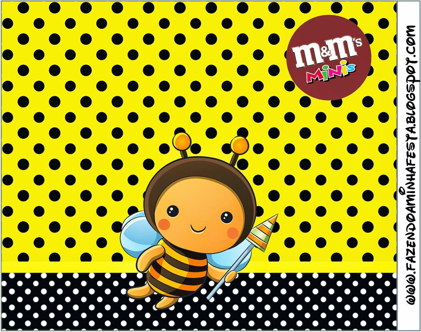 Etiqueta M&M para Imprimir Gratis deAbejitas Bebé.