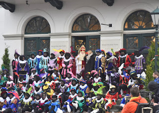 Sinterklaas and all his helpers pose for a group photo, Zaandam, The Netherlands