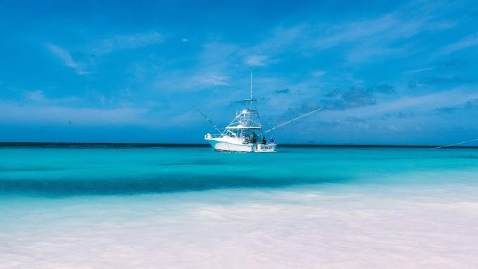 Plano de Fundo Barco no Mar Verde