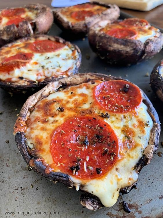 Keto Pizza Stuffed Portobello Mushrooms