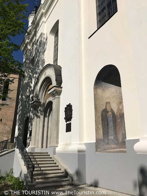 The refurbished facade of Holy Trinity Ukrainian Greek Catholic Church in Vilnius in Lithuania