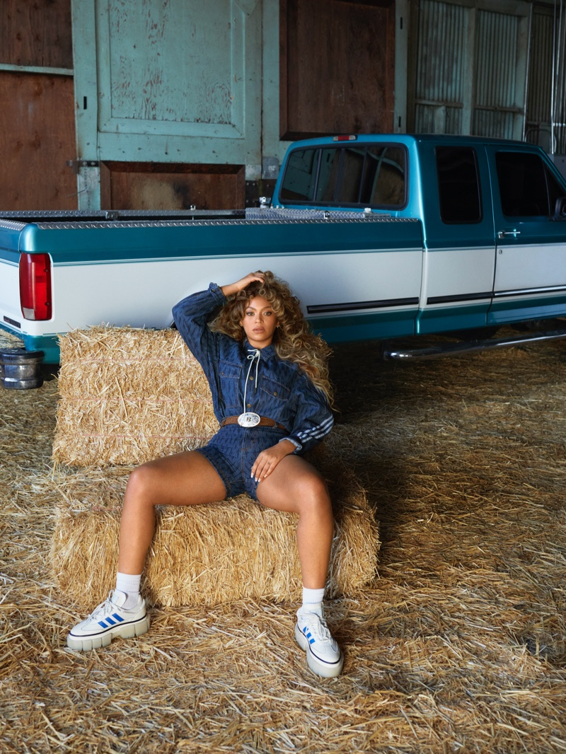 Designer Beyonce wears western-inspired style for adidas x Ivy Park Rodeo collection.