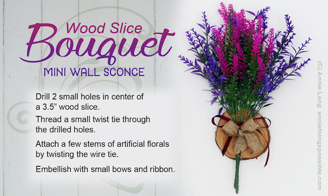 Use Annie Lang's wood slice bouquet sconce idea to craft a home accent for any season!