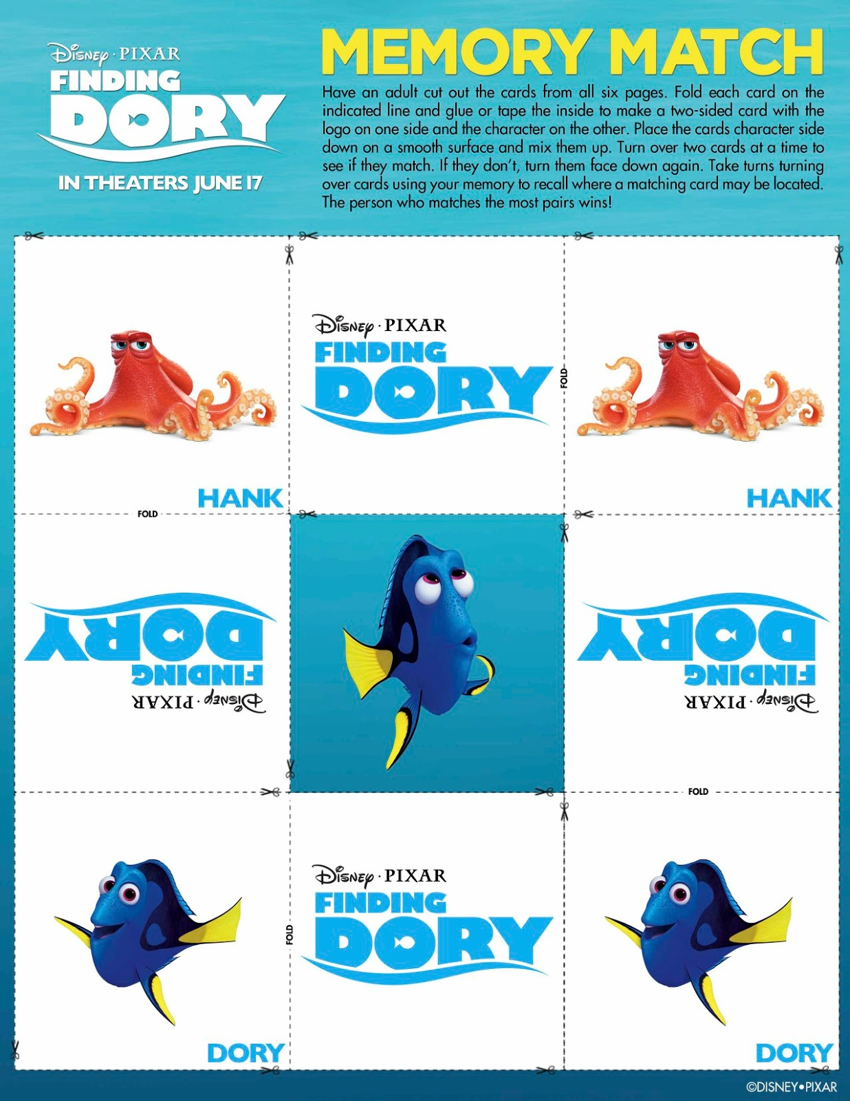 Be Brave, Keep Going: Finding Dory Free Printable Memory ...