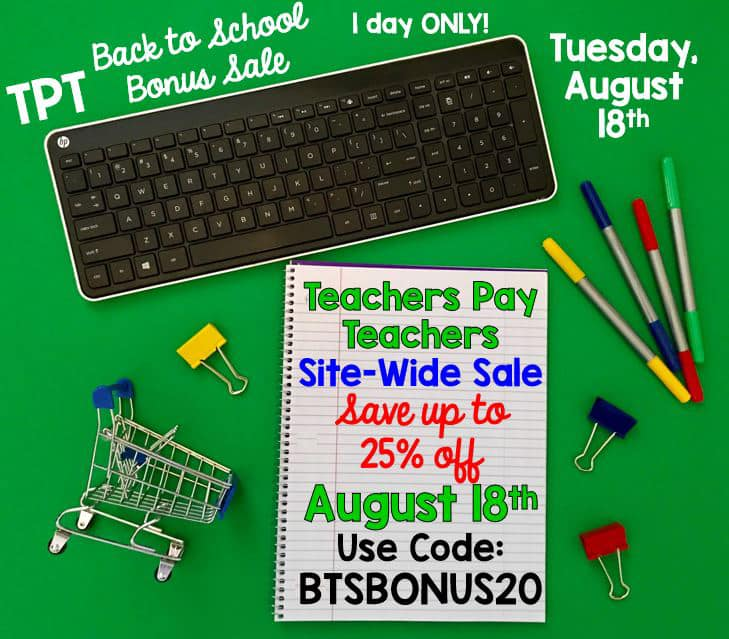 Shop The ESL Nexus on Tuesday, 8/18/20, for 20% off on all resources.  Use promo code BTSBONUS20 at checkout for an additional 5% off for a total savings of 25%!  Go to http://bit.ly/TheESLNexusResources to find great resources for the start of the school year!