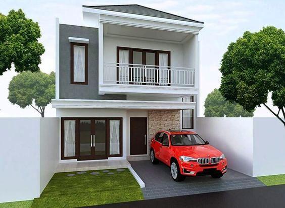 Rumah minimalis 2 lantai atap limasan dengan nuansa monokrom