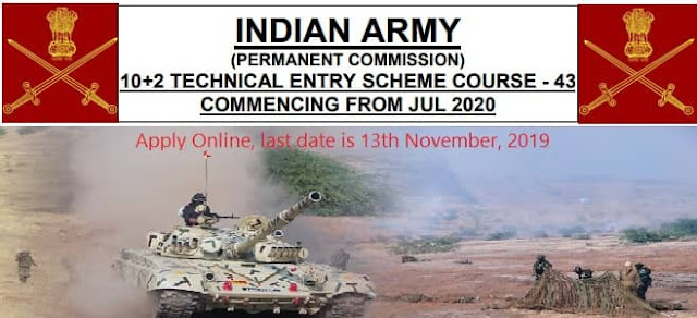 Indian Army 43rd 10+2 Technical Entry Scheme