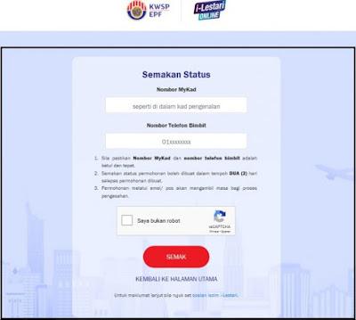 Semak Status Pengeluaran i-Lestari KWSP secara Online sekarang