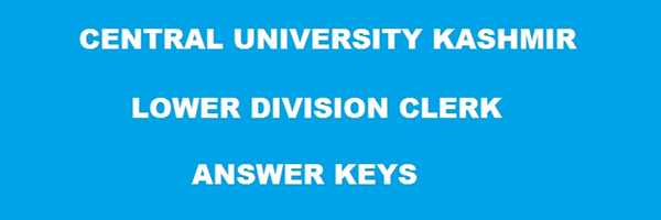 Central University of Kashmir Answer Key