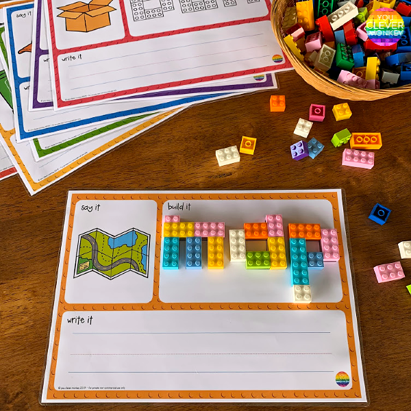 LEGO CVC Word 'Say It, Build It, Write It' Mats | you clever monkey