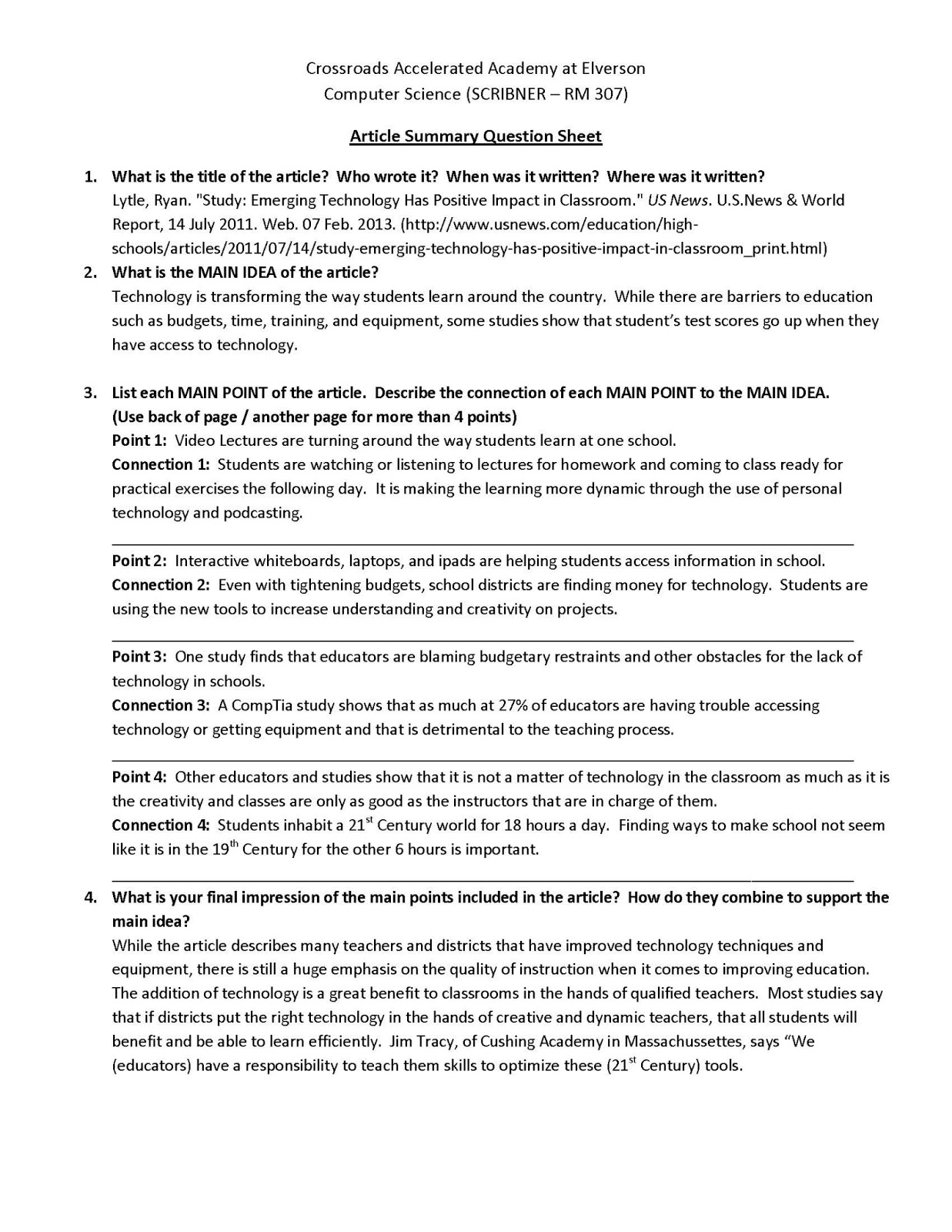 Collegium charter school technology blog mla format for Science article summary template