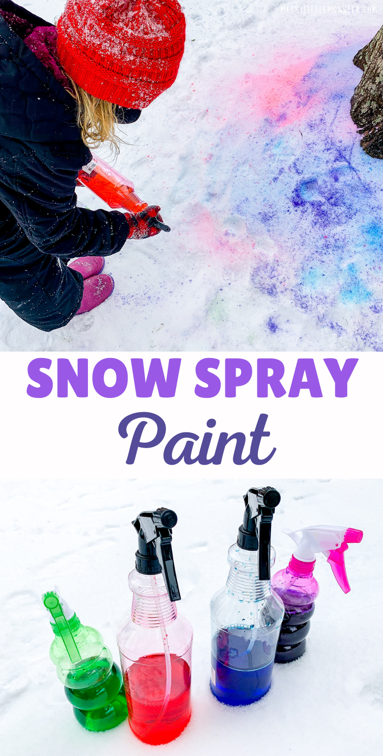 Paint in the snow with snow spray paint. Easy snow paint recipe.