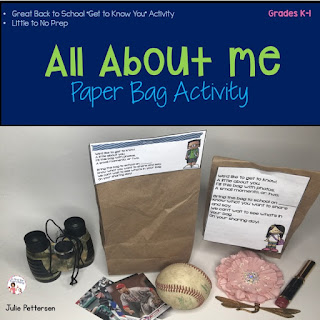 All About Me Paper Bag Activity FREEBIE  is a great get to know you activity for back to school. Students fill the bag with various mementos, photos and trinkets to tell about themselves and share with the class. Use the included poem as a bag topper.