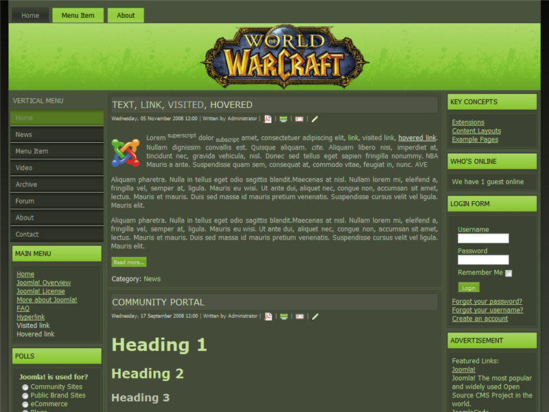 templates for world of warcraft websites world of