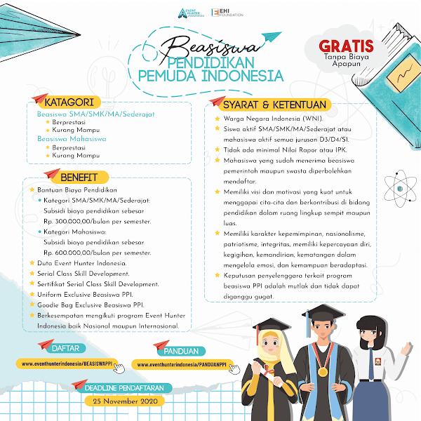 Beasiswa Pendidikan Pemuda Indonesia Event Hunter Indonesia 2020